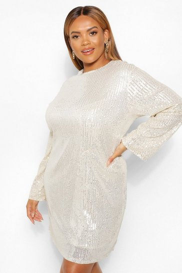 Silver Plus Sequin Long Sleeve Shift Dress