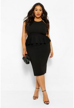 Black Plus Peplum Midi Dress