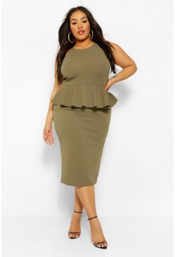 Khaki Plus Peplum Midi Dress