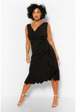 Black Plus Bardot Ruffle Wrap Midi Dress