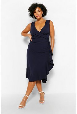 Navy Plus Bardot Ruffle Wrap Midi Dress