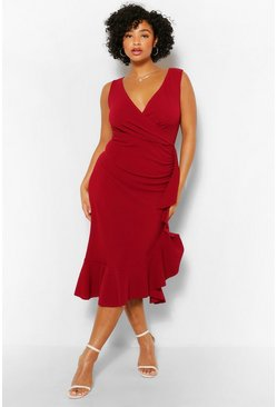 Wine red Plus Bardot Ruffle Wrap Midi Dress