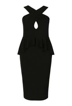 Black Plus Ruffle Peplum Cut Out Midi Dress