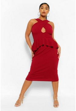 Wine red Plus Ruffle Peplum Cut Out Midi Dress