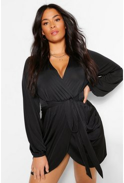 Black Plus Disco Slinky Belted Wrap Dress