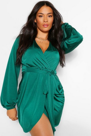 Emerald green Plus Disco Slinky Belted Wrap Dress