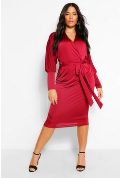 Berry red Plus Disco Slinky Batwing Midi Dress