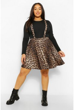 Brown Plus Leopard Pinafore Skirt