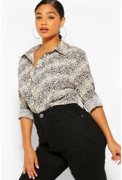 Stone Plus Mini Leopard Print Oversized Shirt