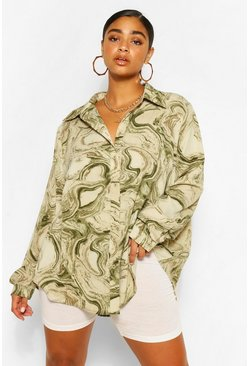 Khaki Plus Abstract Marble Print Oversized Shirt