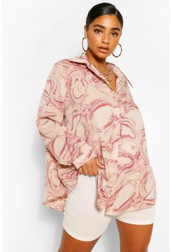 Pink Plus Abstract Marble Print Oversized Shirt