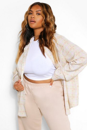 Stone beige Plus Check Oversized Boyfriend Shirt