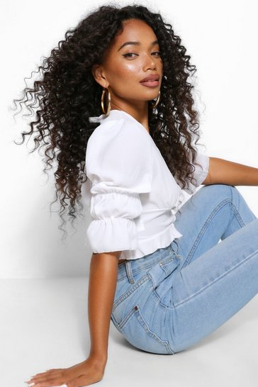 White Petite Statement Sleeve Cropped Blouse