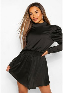 Black Petite Statement Sleeve Dress