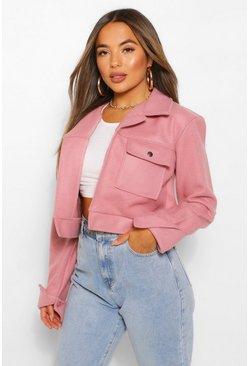 Rose pink Petite Cropped Popper Front Jacket