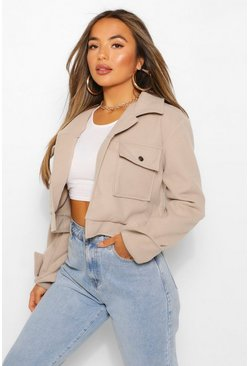 Stone beige Petite Cropped Popper Front Jacket