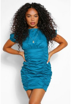 Teal green Petite Cotton Ruched Short Sleeve Mini Dress