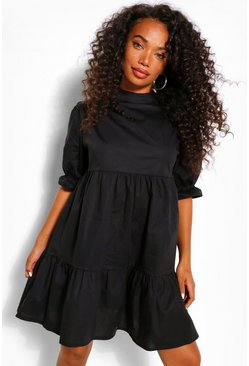 Black Petite High Neck Smock Dress