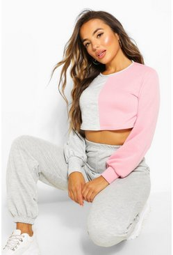 Grey Petite Colour Block Cropped Sweatshirt