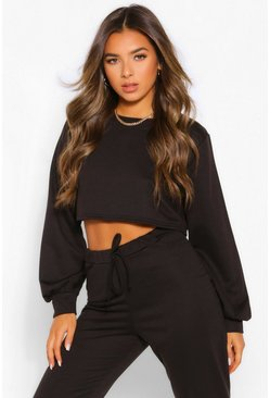 Black Petite Crop Sweater