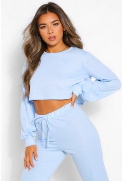 Blue Petite Crop Sweater