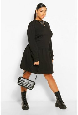Black Plus Drop Hem Jersey Smock Dress