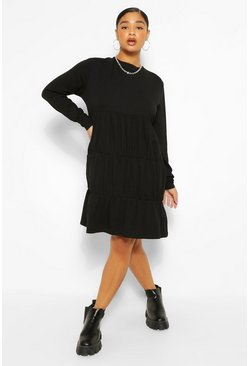 Black Plus Tiered Jersey Smock Dress
