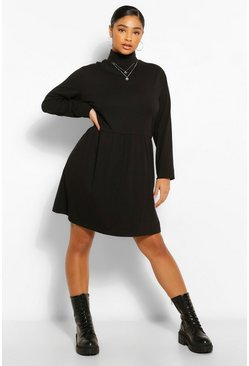 Black Plus Roll Neck Long Sleeve Smock Dress