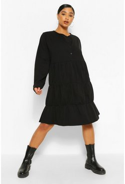 Black Plus Button Detail Tiered Smock Dress