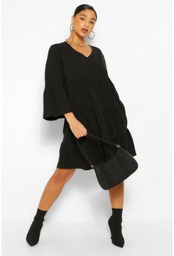 Black Plus Tiered Jersey Ruffle Smock Dress