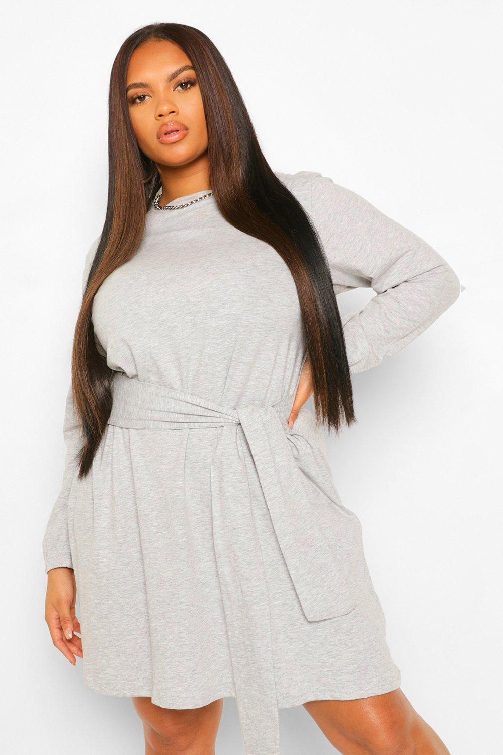 Plus Self Tie Belted Jersey Skater Dress 8