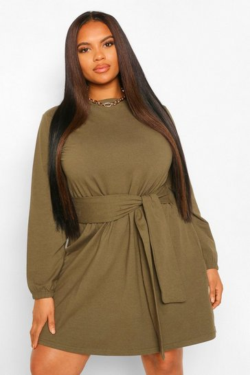 Khaki Plus Self Tie Belted Jersey Skater Dress