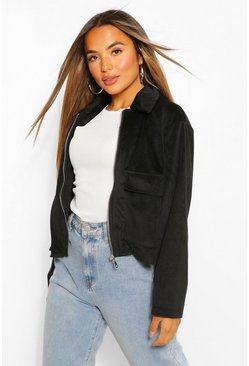 Black Petite Pocket Detail Cord Jacket