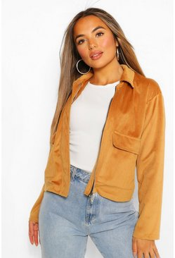 Tan brown Petite Pocket Detail Cord Jacket