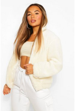 Ivory white Petite Pocket Detail Teddy Jacket