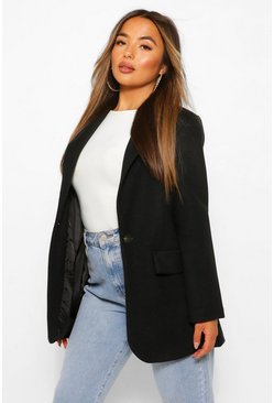 Black Petite Single Breasted Wool Look Coat