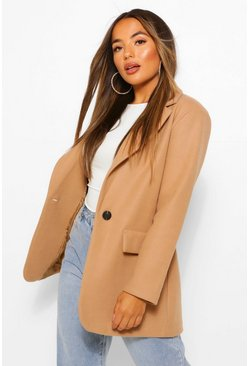 Camel beige Petite Single Breasted Wool Look Coat