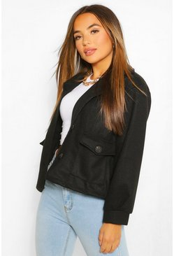 Black Petite Wool Look Pocket Detail Jacket