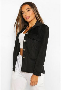 Black Petite Oversized Jumbo Cord Shacket