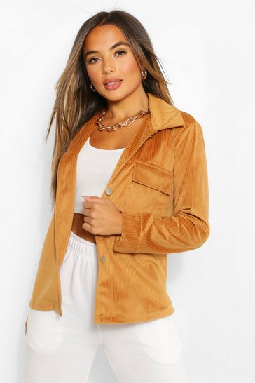 Tan brown Petite Oversized Jumbo Cord Shacket