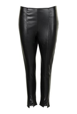 Khaki Petite Leather Look Split Front Skinny Trousers