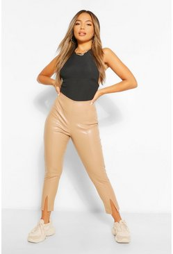 Sand beige Petite Leather Look Split Front Skinny Trousers