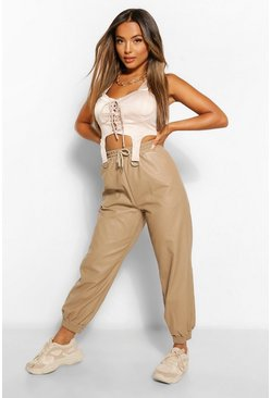 Stone beige Petite Leather Look Tie Waist Joggers