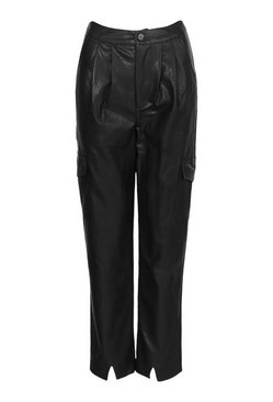 Black Petite Leather Look Split Front Slim Trousers