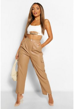 Stone beige Petite Leather Look Split Front Slim Trousers