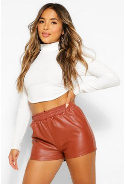 Chocolate brown Petite PU Elasticated Jogger Shorts