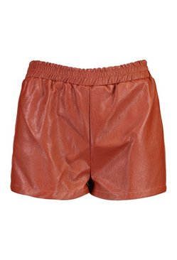 Chocolate Petite PU Elasticated Jogger Shorts