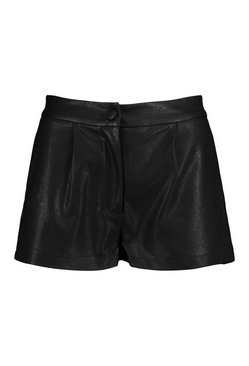 Black Petite Tailored PU Shorts