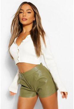 Khaki Petite Tailored PU Shorts