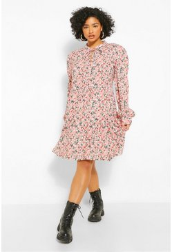 Pink Plus Ditsy Floral Tiered Smock Dress